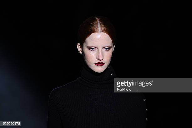 A model parading in the catwalk wearingby Menchen Tomas designs during 080 Barcelona fashion show in Barcelona 3rd of February 2016