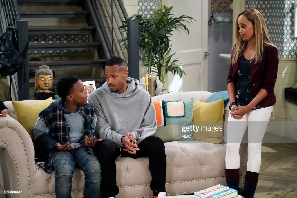 MARLON -- 'Model Parent' Episode 204 -- Pictured: (l-r) Amir O'Neil as Zack Wayne, Marlon Wayans as Marlon Wayne, Essence Atkins as Ashley Wayne --