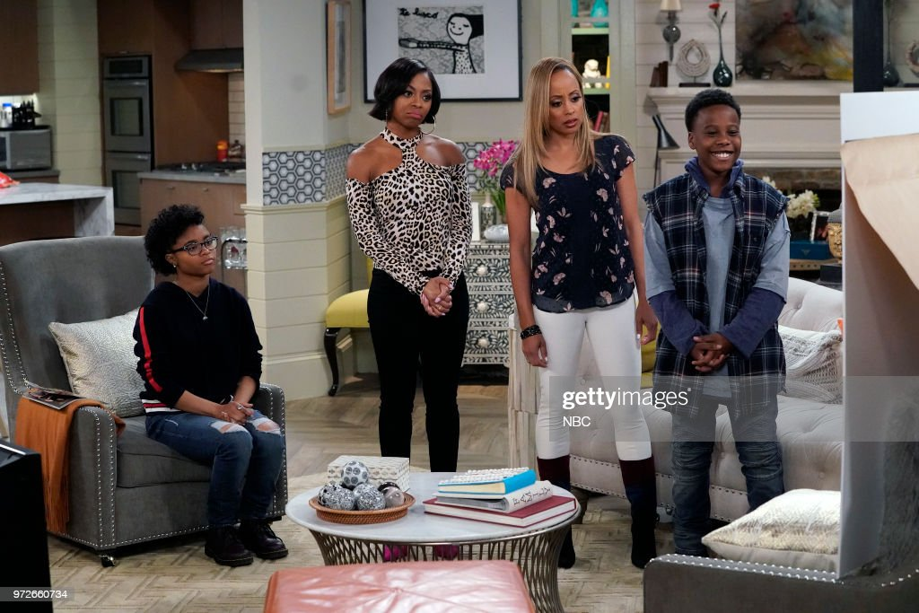 MARLON -- 'Model Parent' Episode 204 -- Pictured: (l-r) Notlim Taylor as Marley Wayne, Bresha Webb as Yvette, Essence Atkins as Ashley Wayne, Amir O'Neil as Zack Wayne --