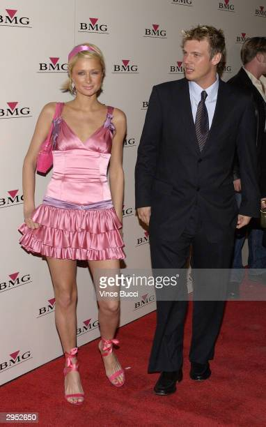 Model Paris Hilton and singer Nick Carter attend the BMG PostGrammy Party following the 46th Annual Grammy Awards at the Avalon on February 8 2004 in...