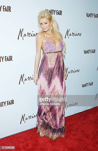 Model Paris Hilton arrives at the launch of Marciano hosted by Vanity Fair on October 19 2004 at Dolce in Hollywood California The evening was a...