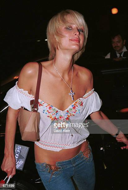 Model Paris Hilton arrives at The Roxy Theater on June 7, 2002 for The Pussycat Dolls dance show in West Hollywood, CA.