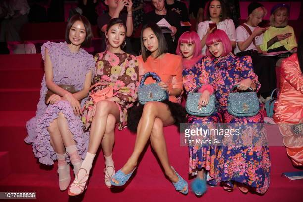 Model Park Sera, Irene Kim, Aimee Song, Aya Suzuki and Ami Suzuki attend the Mulberry A/W 18 event at K museum on September 6, 2018 in Seoul, South...