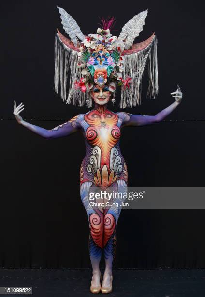 A model participates in a 2012 International Bodypainting Festival Asia at Duryu park on September 1 2012 in Daegu South Korea The festival is the...