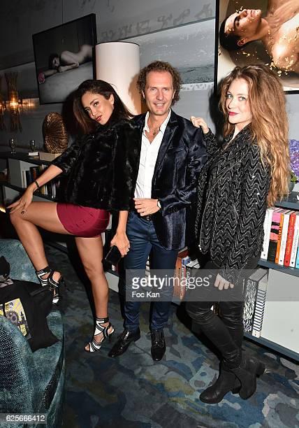 Model Patricia Contreras PR Nicolas Mereau and TV presenter Cyrielle Joelle attend 'Vibrations' Stefanie Renoma Photo Exhibition at Hotel Nolinski on...