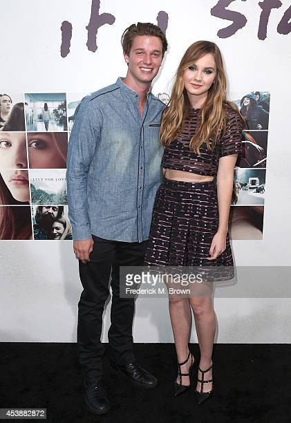 "Model Patrick Schwarzenegger and actress Liana Liberato attend the Premiere of New Line Cinema's and Metro-Goldwyn-Mayer Pictures' ""If I Stay"" at TCL..."