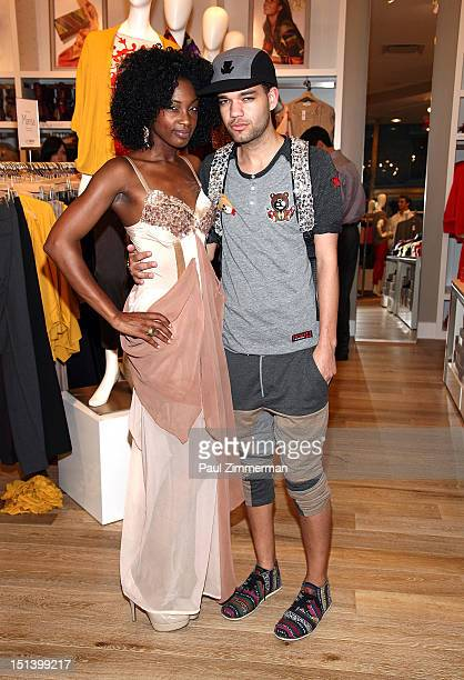 Model Paulene Lingard and fashion designer Jason Christopher Peters attend Fashion's Night Out at the LOFT store 1230 Avenue of the Americas at 49th...