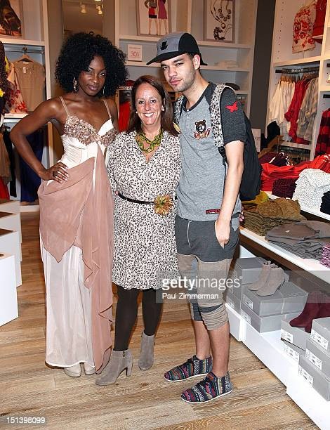 Model Paulene Lingard store manager Gina Lantier and fashion designer Jason Christopher Peters attend Fashion's Night Out at the LOFT store 1230...