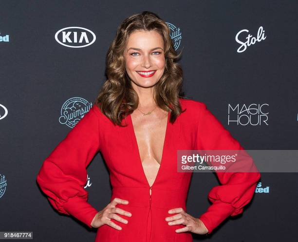Model Paulina Porizkova attends the 2018 Sports Illustrated Swimsuit Issue Launch Celebration at Magic Hour at Moxy Times Square on February 14 2018...