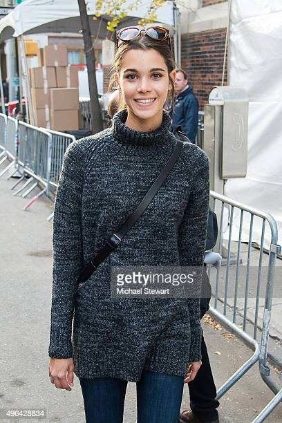 Model Pauline Hoarau is seen arriving at rehearsals for the 2015 Victoria's Secret Fashion Show at the Lexington Avenue Armory on November 9 2015 in...