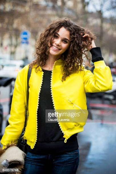 Model Pauline Hoarau is seen in the streets of Paris after the Akris show during Paris Fashion Week Womenswear Fall/Winter 2017/2018 on March 5 2017...