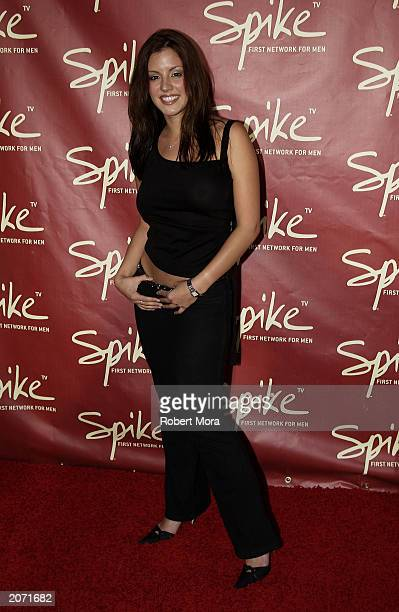 Model Penelope Jimenez attends the official launch party for Spike TV at the Playboy Mansion on June 10 2003 in Holmby Hills California Formerly TNN...