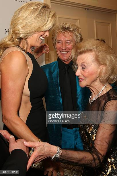 Model Penny Lancaster recording artist Rod Stewart and Carousel of Hope Chairman Barbara Davis attend MercedesBenz presents the Carousel of Hope Ball...