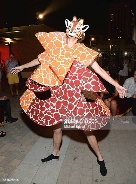 A model performs at the 'More Than a Cone' art auction and campaign launch benefiting Best Friends Animal Society in Los Angeles where renowned...