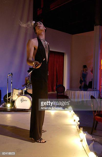 Model performs in the Goretti installation at the Gen-Art Fall 2005 LA Fashion Week Kick Off Party on March 14, 2005 at the MOCA Geffen Contemporary...
