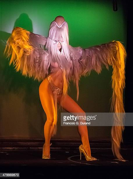 A model performs on stage during the Charlie Le Mindu show as part of Paris Fashion Week Haute Couture Fall/Winter 2015/2016 on July 8 2015 in Paris...