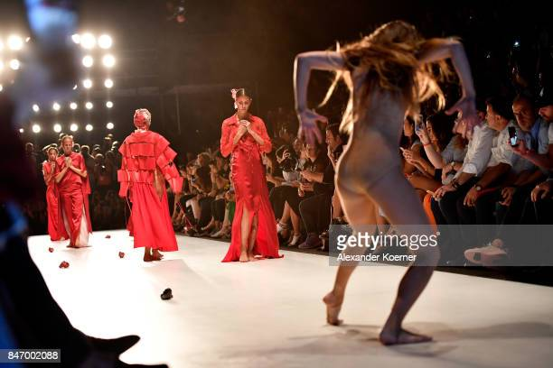 A model performs on the runway at the Bashaques show presented by MercedesBenz during MercedesBenz Istanbul Fashion Week September 2017 at Zorlu...