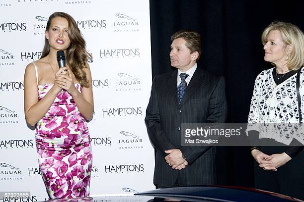 Model Petra Nemcova addresses the crowd after recieving a check for $10000 for the Happy Hearts Fund from Gary Flom of Jaguar and Niche group...