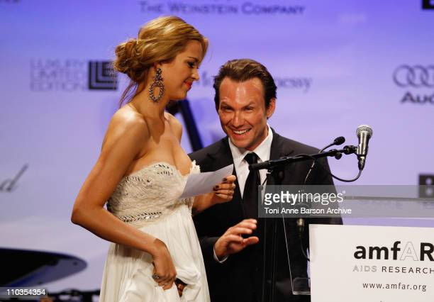 Model Petra Nemcova and actor Christian Slater onstage during amfAR's Cinema Against AIDS 2008 benefit held at Le Moulin de Mougins during the 61st...