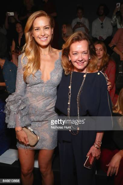 Model Petra Nemcova and Caroline Scheufele attend the Marchesa fashion show during New York Fashion Week The Shows at Gallery 1 Skylight Clarkson Sq...