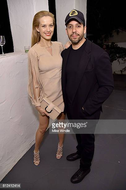 Model Petra Nemcova and magician David Blaine attend The Dinner For Equality cohosted by Patricia Arquette and Marc Benioff on February 25 2016 in...