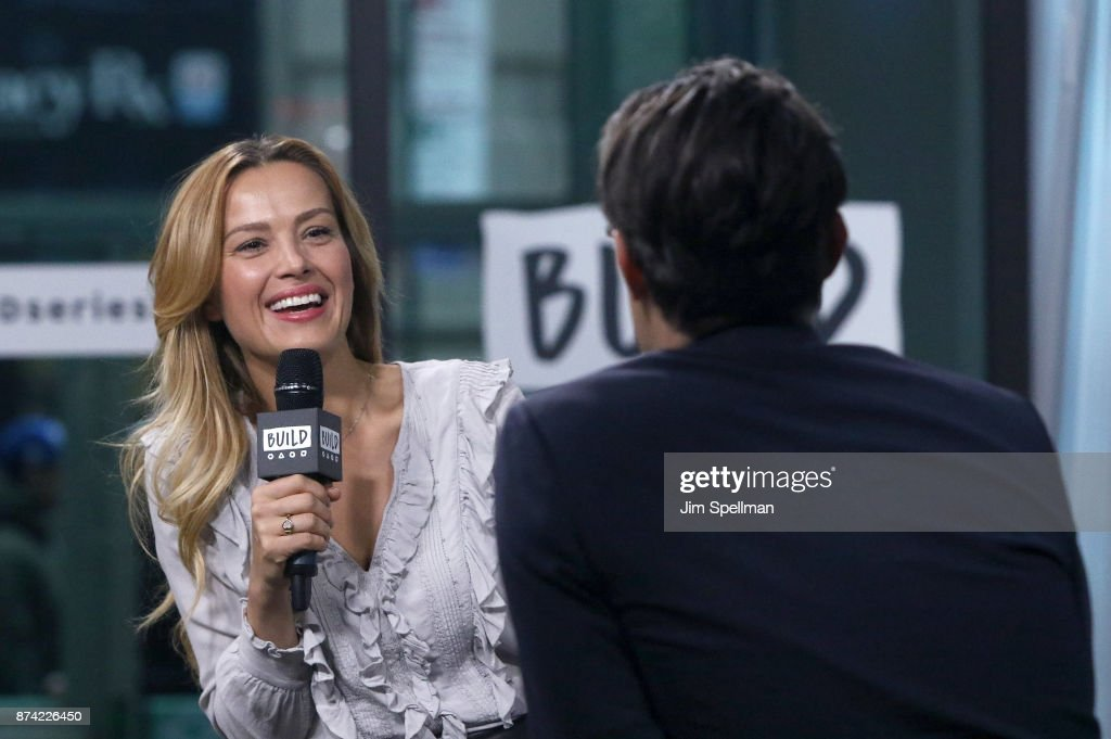 Model Petra Nemcova and moderator Ricky Camilleri attend Build to discuss Hands and Hearts - Smart Response at Build Studio on November 14, 2017 in New York City.