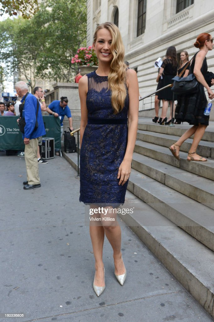 Model Petra Nemcova arrives at the Marchesa runway show during Mercedes-Benz Fashion Week Spring 2014 at The New York Public Library on September 11, 2013 in New York City.