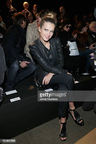 Model Petra Nemcova attends the Diesel Black Gold Fall 2013 fashion show during MercedesBenz Fashion Week at Pier 57 on February 12 2013 in New York...