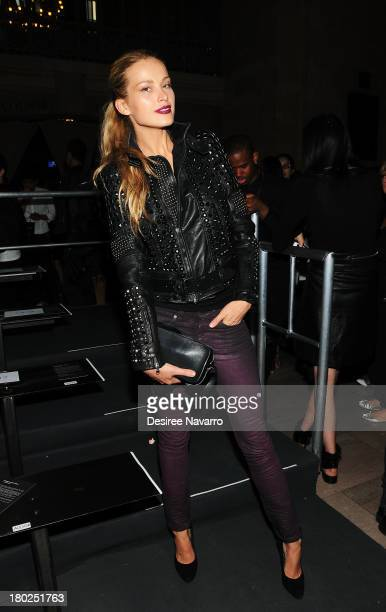Model Petra Nemcova attends the Diesel Black Gold show during Spring 2014 MercedesBenz Fashion Week at Vanderbilt Hall at Grand Central Terminal on...
