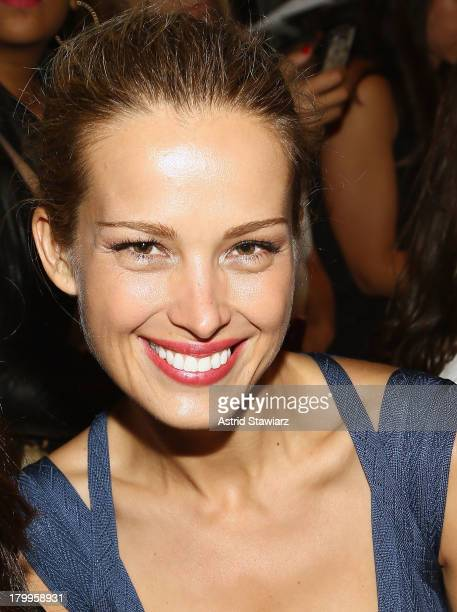 Model Petra Nemcova attends the Herve Leger By Max Azria fashion show during MercedesBenz Fashion Week Spring 2014 at The Theatre at Lincoln Center...