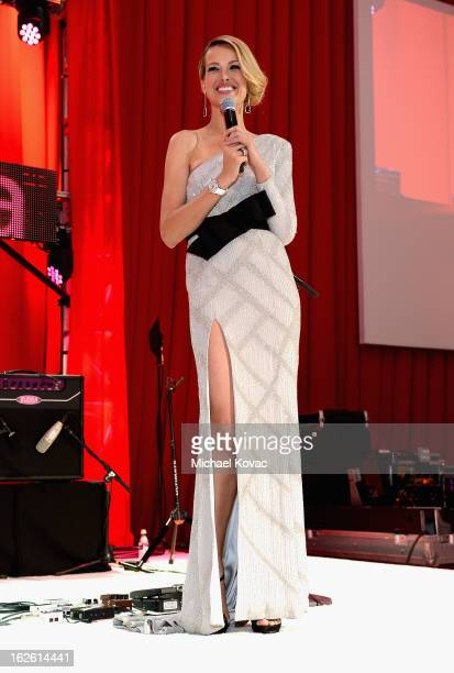 Model Petra Nemcova speaks onstage during the 21st Annual Elton John AIDS Foundation Academy Awards Viewing Party at West Hollywood Park on February...