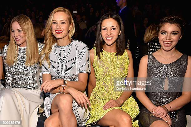 Model Petra Nemcova with actresses Abbie Cornish Annet Mahendru and Sami Gayle attend the Herve Leger By Max Azria Fall 2016 fashion show during New...