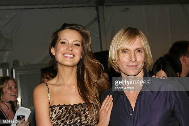Model Petra Nemcova with designer Marc Bouwer backstage at the Marc Bouwer show at the Fall 2007 Mercedes-Benz Fashion Week in New York City.