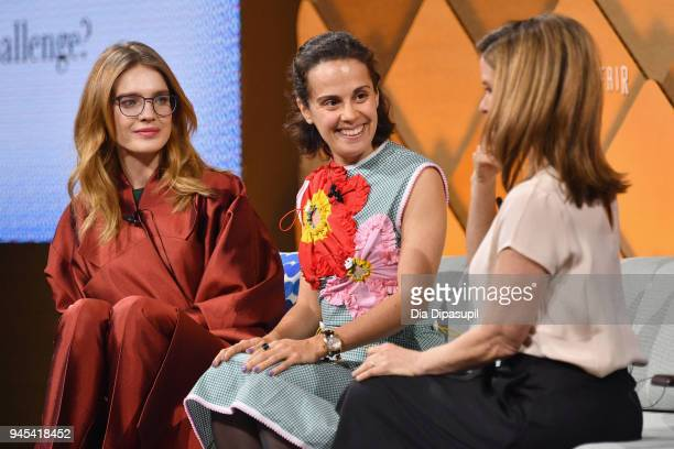 Model philanthropist and investor Natalia Vodianova Epytom founder and CEO Anastasia Sartan and MSNBC 'Your Business' host JJ Ramberg speak onstage...