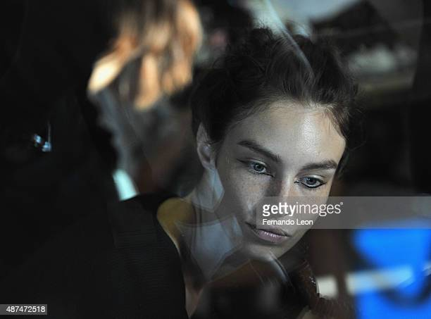A model photographed backstage during the Rachel Comey fashion show at the Pioneer Works Center for Arts and Innovation on September 9 2015 in New...