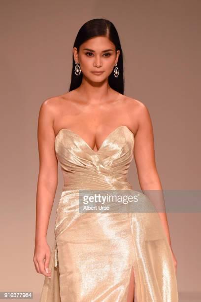 Model Pia Wurtzbach walks the runway during the NYFW Sherri Hill Runway Show on February 9 2018 in New York City