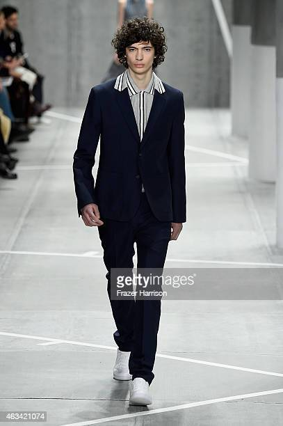 Model Piero Mendez walks the runway at the Lacoste fashion show during MercedesBenz Fashion Week Fall 2015 at The Theatre at Lincoln Center on...
