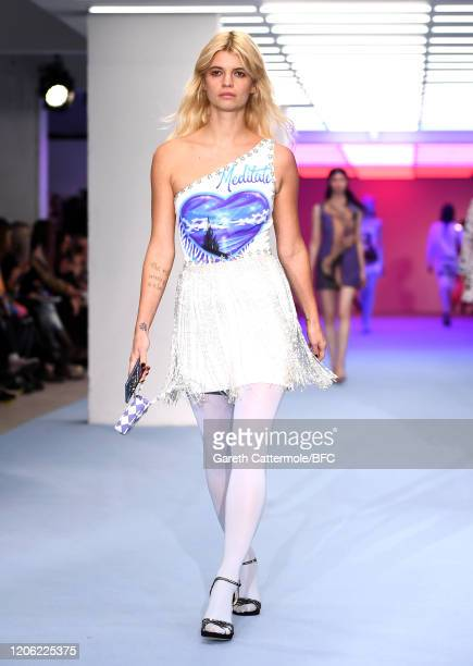 Model Pixie Geldof walks the runway at the Ashley Williams show during London Fashion Week February 2020 at the BFC Show Space on February 14, 2020...