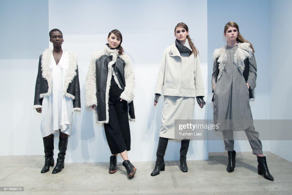Model poese for Zero + Maria Cornejo - Presentation - February 2018 - New York Fashion Week on February 12, 2018 in New York City.
