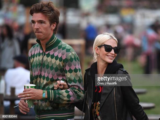 Model Poppy Delevingne and husband James Cook attend Glastonbury Festival on June 23 2017 in Glastonbury England