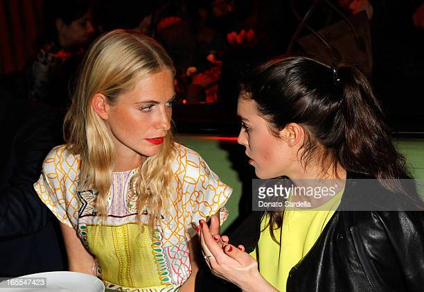 Model Poppy Delevingne and Tallulah Harlech attend Vogue's Triple Threats dinner hosted by Sally Singer and Lisa Love at Goldie's on April 3 2013 in...
