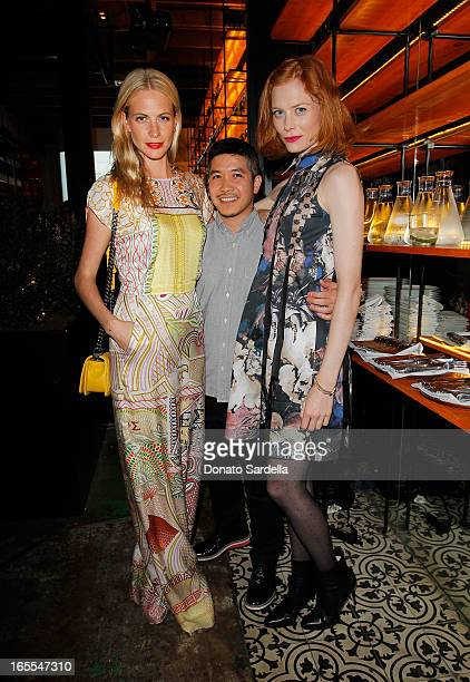 Model Poppy Delevingne designer Thakoon Panichgul and actress Jessica Joffe attend Vogue's Triple Threats dinner hosted by Sally Singer and Lisa Love...