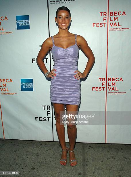 "Model Porschla Coleman arrives at the ""Pray the Devil Back to Hell"" premiere during the 7th Annual Tribeca Film Festival at the AMC Village 7 Theatre..."