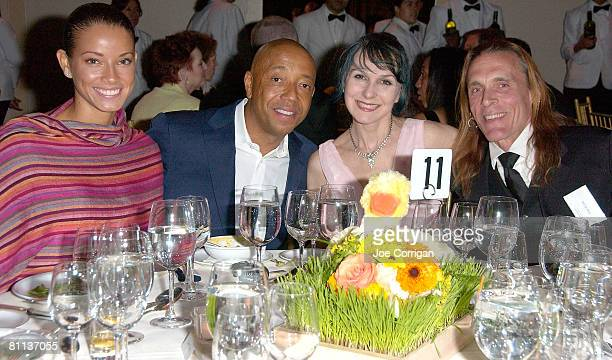 Model Porschla Coleman, Fashion/Music mogul Russell Simmons, Sharon Gannon and David Lfe pose for photos at the 2008 Farm Sanctuary Gala for Farm...