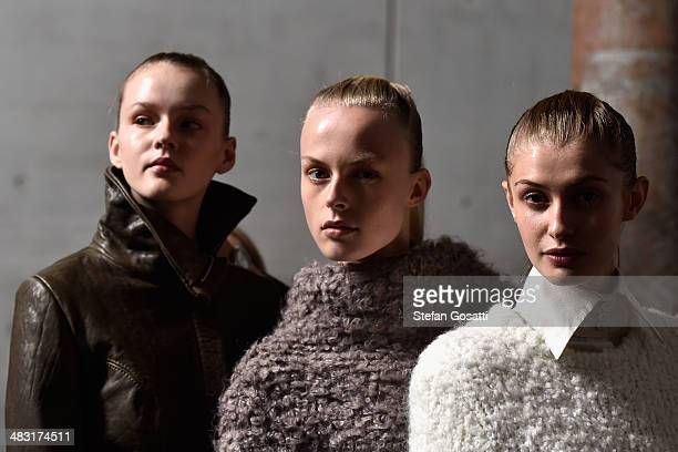 Model pose backstage ahead of the StrateasCarlucci show at MercedesBenz Fashion Week Australia 2014 at Carriageworks on April 7 2014 in Sydney...