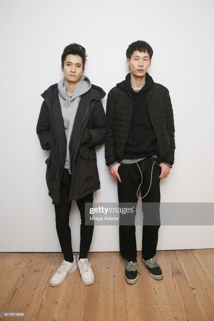 Model pose backstage at the Calvin Luo fashion show during New York Fashion Week on February 13, 2018 in New York City.