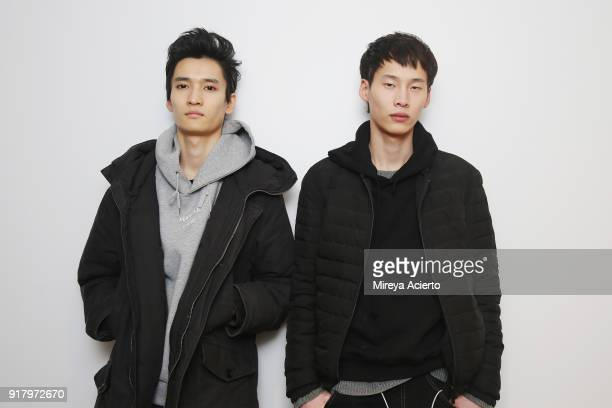 Model pose backstage at the Calvin Luo fashion show during New York Fashion Week on February 13 2018 in New York City