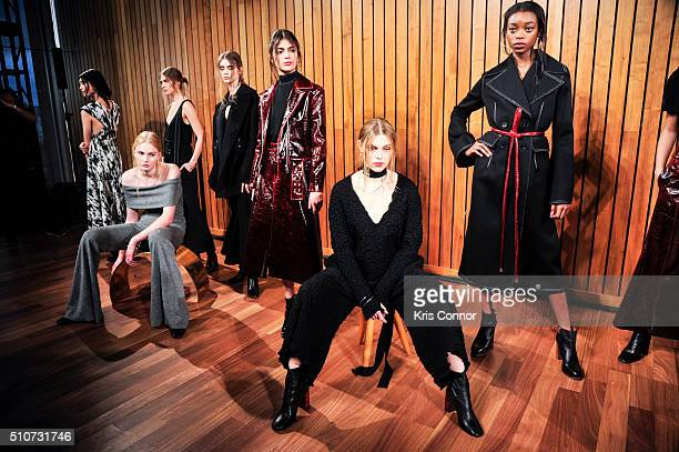 Model pose during the Beaufille Fall/Winter 2016 Presentation during New York Fashion Week at The Standard hotel on February 16 2016 in New York City