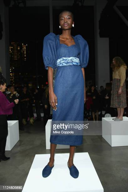 A model pose for Mara Hoffman at the Fashion For Peace Fashion Presentation during New York Fashion Week The Shows at Gallery I at Spring Studios on...