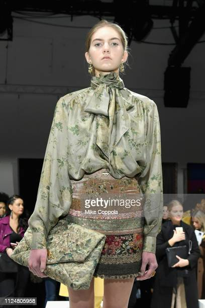 A model pose for Sabyasachi at the Fashion For Peace Fashion Presentation during New York Fashion Week The Shows at Gallery I at Spring Studios on...